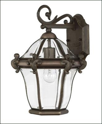 San clemente side mount contemporary lantern offered in a copper bronze finishes and two sizes