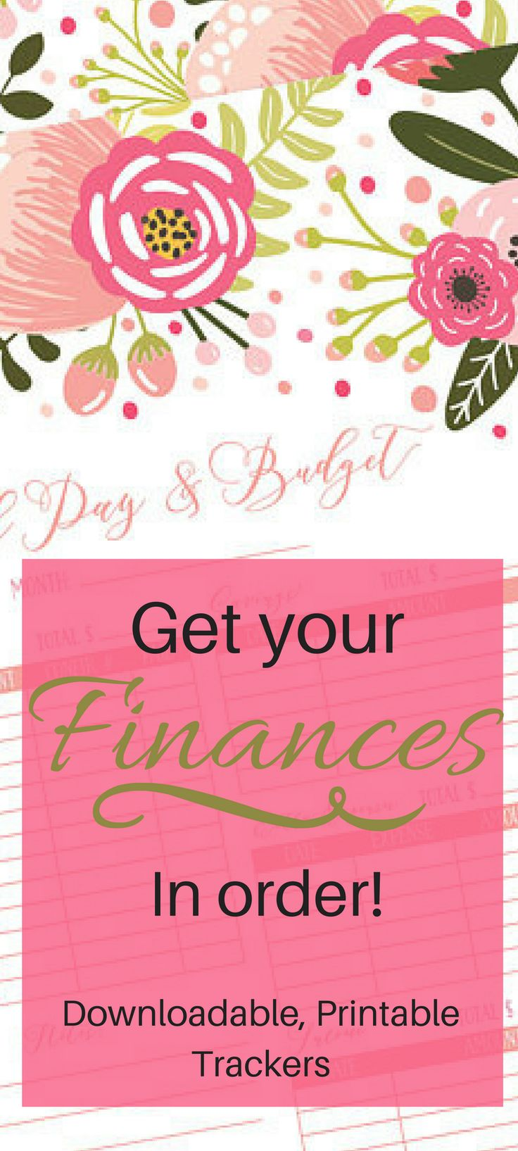 Get your finances in order with these feminine printable trackers. Printable Bill Pay Log, Bill Pay Tracker, Bill Tracker Log, Bill Pay Organizer, Budget Planner, Personal Finance Log, Bill Organizer affiliate links