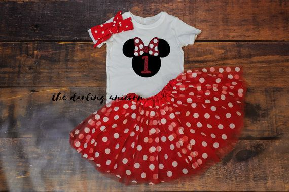 Minnie una ragazza infantile Body, neonata t-shirt, vestito di compleanno, vestito del bambino, vestito di 1 anno, tutu rosso a pois, minnie mouse tutu