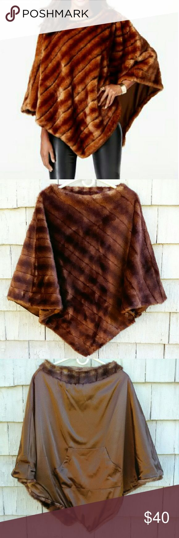 "INC International Concepts Faux Fur Poncho This faux fur poncho is stunning and quality made! Retailed for $159 and has only been tried on (found a vintage one I ended up using), so superb condition! Pic.  3 shows internal hand warming center pocket. Size small and seems true to size. Super soft,  quality faux fur! Approx. 30"" long at longest. INC International Concepts Jackets & Coats Capes"