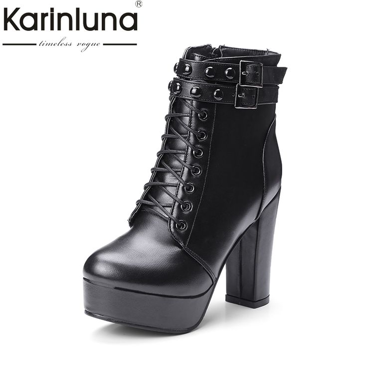 Cheap boots women shoes, Buy Quality shoes woman directly from China high heels boots women Suppliers: KARINLUNA Large Size 34-43 Retro High Heel Boots Women Shoes Woman Zip Up Shoelace Winter Boots Add Fur Footwear Buckles Bottine