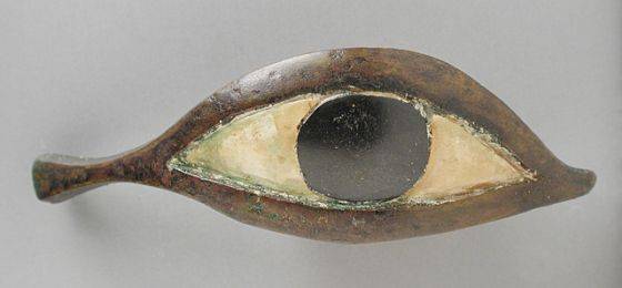 Eye from a Coffin  Egypt, Late Period, 21st - 26th Dynasty (1081 - 525 BCE)  Sculpture  Bronze with inlaid bone sclerotica and black stone iris  Height: 7/8 in.