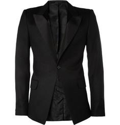 Alexander McQueen Panelled-Lapel Wool-Blend Tuxedo Jacket   MR PORTER: Tuxedo Jackets, Alexander Mcqueen, Wool Blend Tuxedo, Mens Clothing, Men'S Clothing, Mr Porter, Fashion Style Men, Mcqueen Panelled Lapel