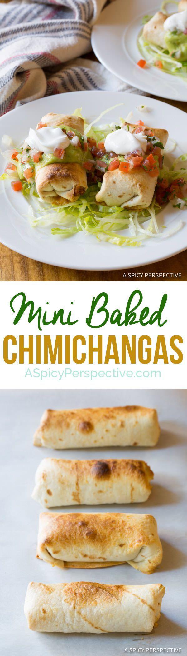 Lightened-Up Mini Baked Chimichanga Recipe | http://ASpicyPerspective.com