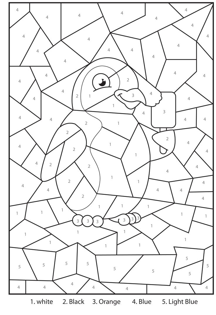 Werkblad rekenen: Printable Penguin At The Zoo Colour By Numbers Activity For Kids