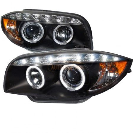 Spec-D 2LHP-E8708JM-TM | 2009 BMW 1 Series Chrome/Clear Halo Projector Headlights for Coupe