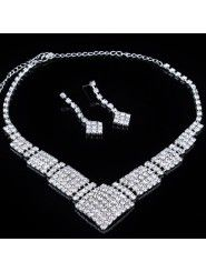 Gorgeous Square Alloy with Rhinestones Wedding Jewelry Set, Including Earrings and Necklace