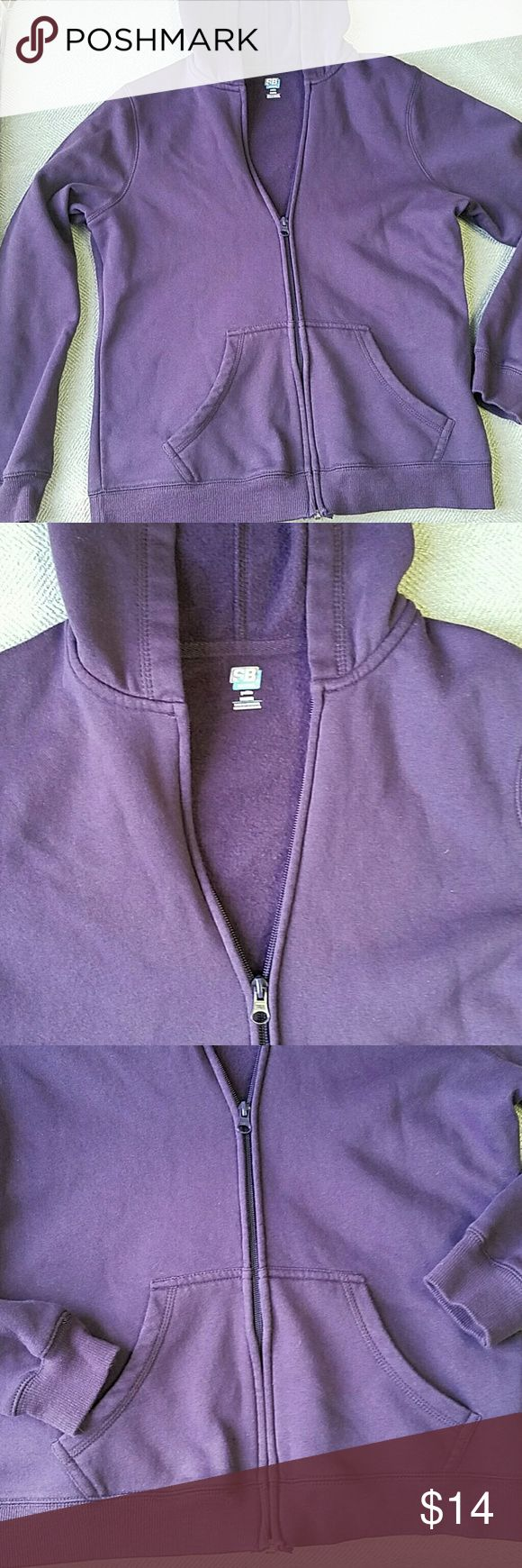 SJB Active Petite Zip-up Hoodie SJB Active Petite Zip-up Hoodie size petite medium, dark purple (darker shade of purple than in pics), made with cotton and polyester, very soft and fuzzy interior, gently used in excellent condition. Please message me if you have any questions! St. John's Bay Tops Sweatshirts & Hoodies