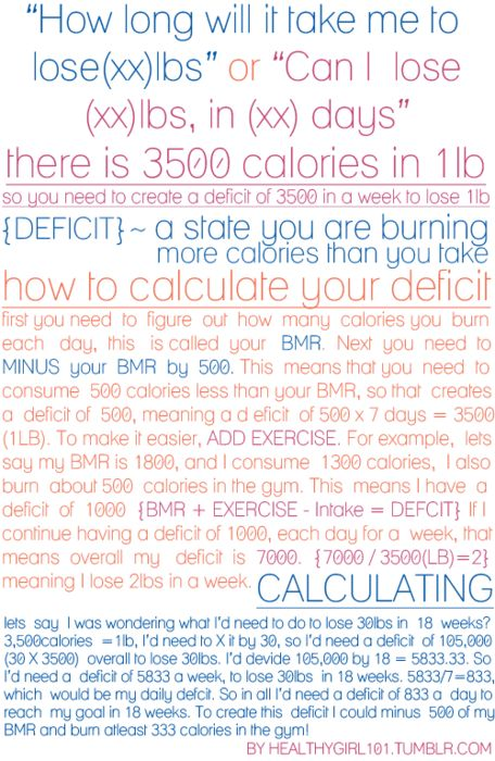 This calculation is used for losing lbs of Fat. Set a realistic goal/time frame  never go under 1,200 calories a day. It may be a bit confusing but as long as you create a deficit of about 500 calories per day from your BMR  exercise, you should lose about 2 lbs of fat per week, which is a healthy rate of loss. Weight Loss Calculator-1400 calories per day for a 5'9 woman
