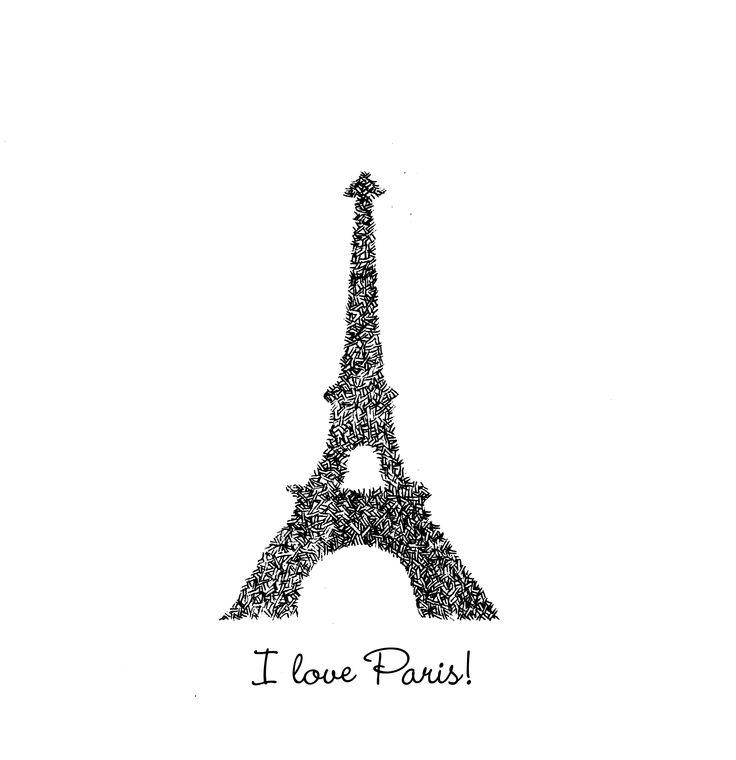 i love paris illustration postcard ulrike wathing ink on paper