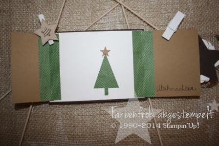 Weihnachtskarte mit Stampin'UP! Klappkarte von innen DESIGNERPAPIER: Festlich geschmückt STEMPELSET: Santa Stache & Wünsche zum Fest STANZE: Tannenbaum Stampin'Up! Herbstwinterkatalog 2014/ 2015