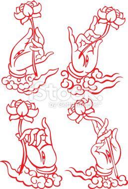 Buddha hand holding a Lotus set Royalty Free Stock Vector Art Illustration