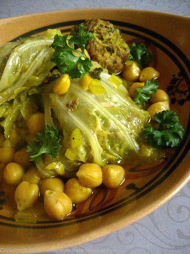 Stuffed Cabbage Tagine - scroll down to this recipe...Cabbage, Hamburger, Chickpeas, tumeric, parsley, garlic, egg, cumin, ras el hanout, cinnamon, oil