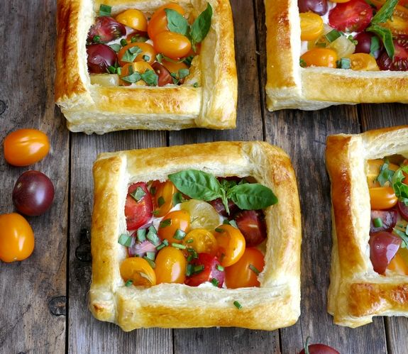 Puff Pastry Tomato Tarts perfect appetizer or side dish--making these with my last basil and cherry tomatoes.