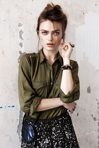 Army green + sequins = cool combo. Maison Scotch spring 2012