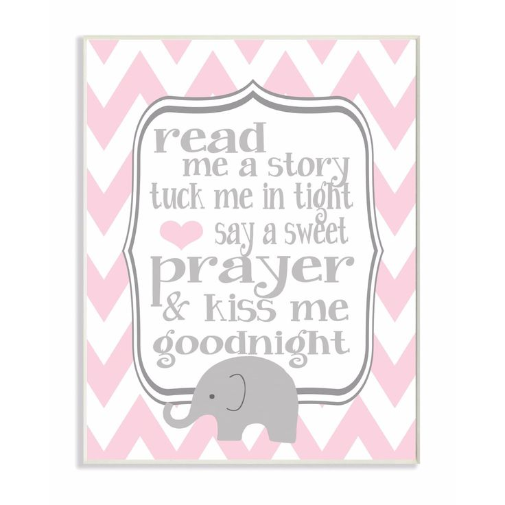 Stupell Industries Read Me A Story/Elephant In Pink Chevron Wall Art