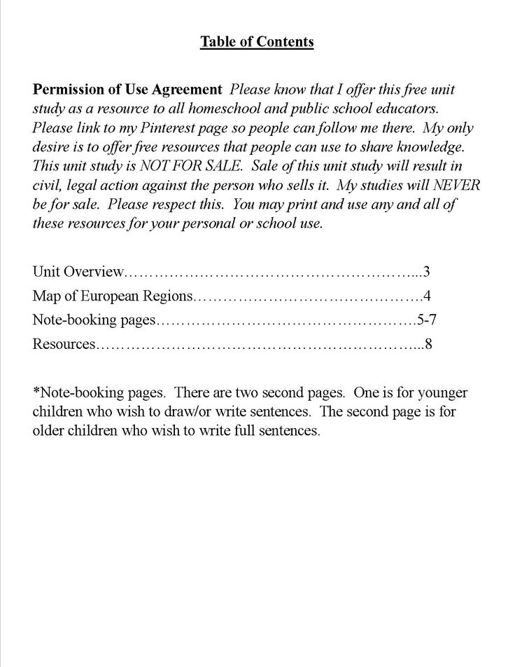 Page 2 of the Europe Geography Unit Study