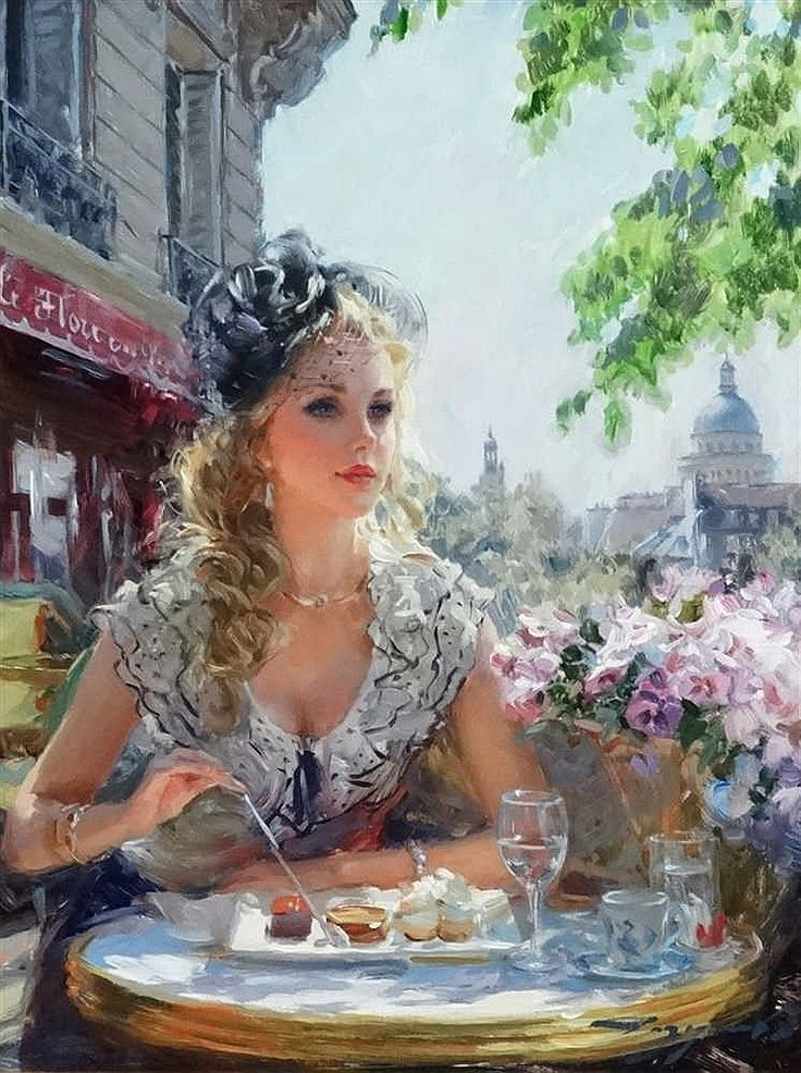 Konstantin Razumov (b.1974) Russian School, Oil on canvas, ''In the cafe'', Portrait of a young woman at a table before a cafe Signed lower right. 13 3/4 x 23 2/3''
