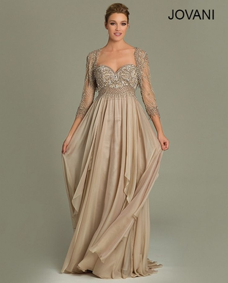 Designer Formal Dresses: Jovani 79009 Sweetheart Bust Lace Bolero Empire Waist