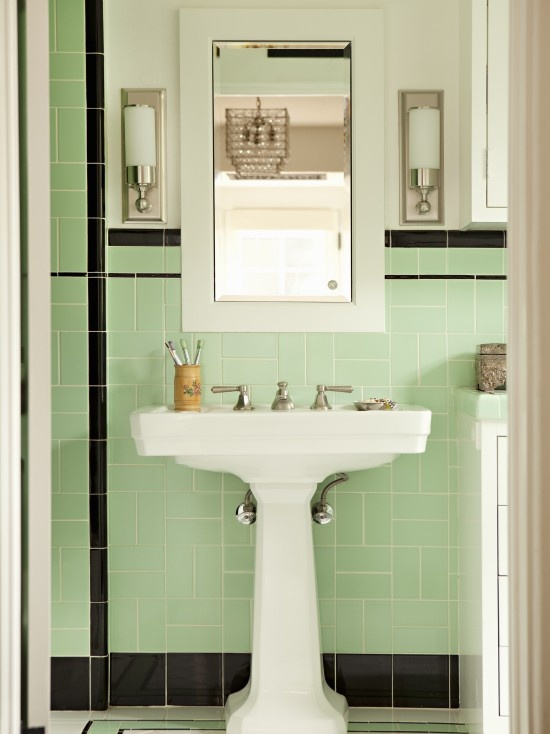 Traditional Bathroom By Tim Barber LTD Architecture Interior Design Black White And Light Mint Green Tiles Are A Nostalgic Choice Full Of Charm