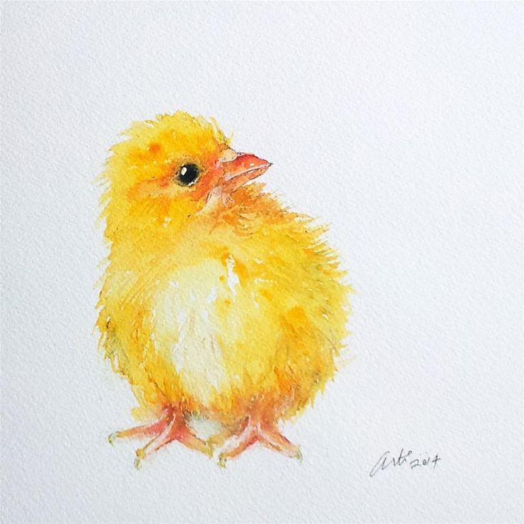 """Yellow Chick"" original fine art by Arti Chauhan"