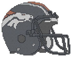 Counted Cross Stitch Pattern, Denver Broncos Helmet - Free US Shipping