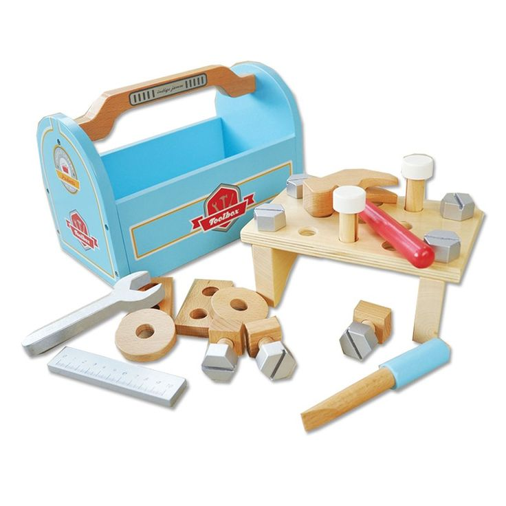 Indigo Jamm - Wooden Tool Box  My boys always want to help daddy when he's fixing things around the house. They would love their own tool set! #pintowin #entropywishlist