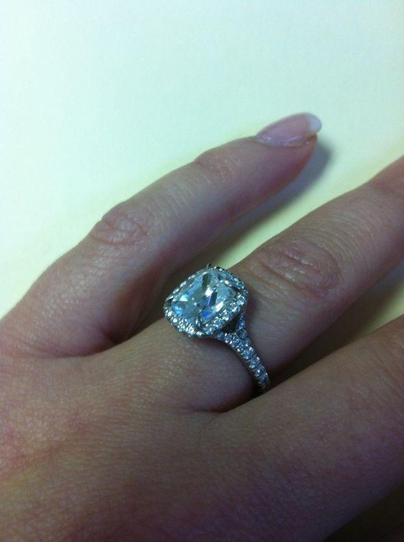 cushion cut split shank engagement rings - Google Search