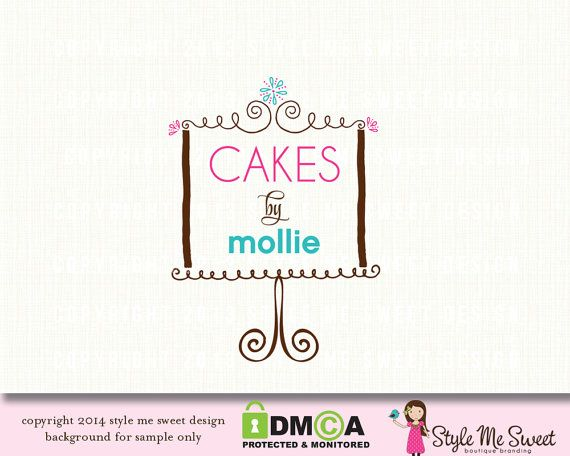 Just fun how the words are arranged with the cake design. Premade Bakery Logo Cake Stand Logo by stylemesweetdesign on Etsy, $40.00