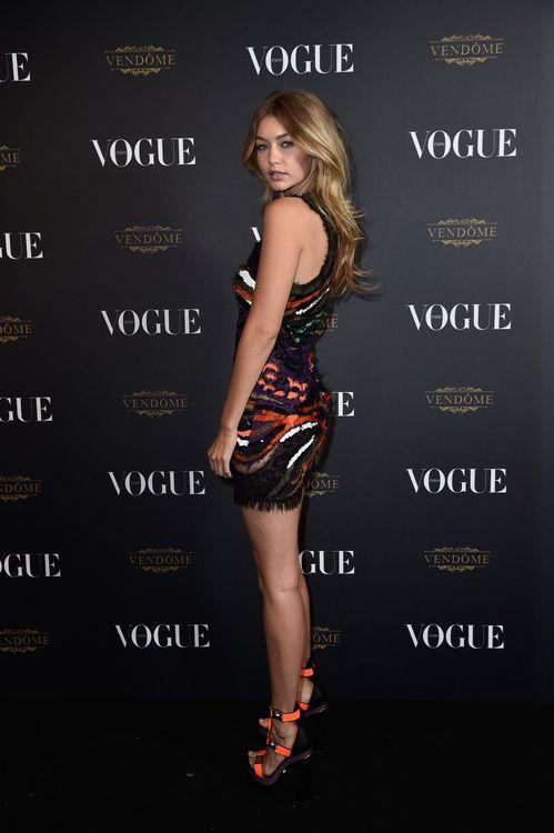 Gigi Hadid en robe Dsquared2 vogue paris http://www.vogue.fr/mode/inspirations/diaporama/la-soire-des-95-ans-de-vogue-paris/22911#gigi-hadid-en-robe-dsquared2