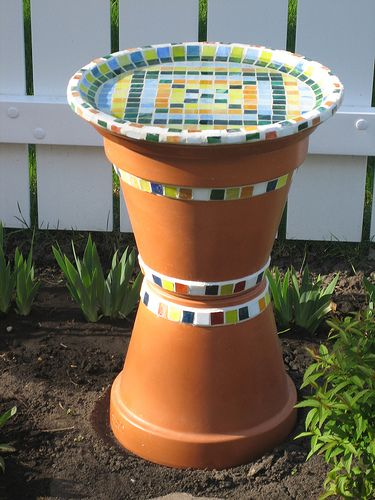"""Homemade bird bath. Add sand/mud/water and its a butterfly """"fountain"""""""