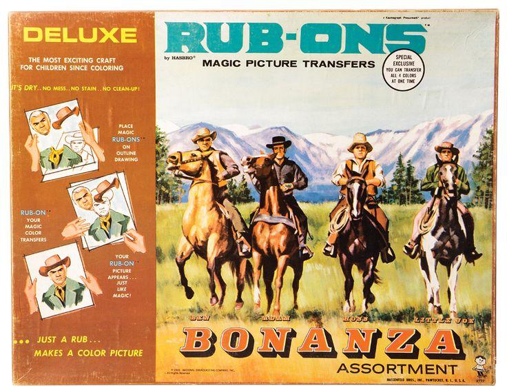Bonanza Rub Ons Set Complete Hasbro 1960s Bonanza Rub On