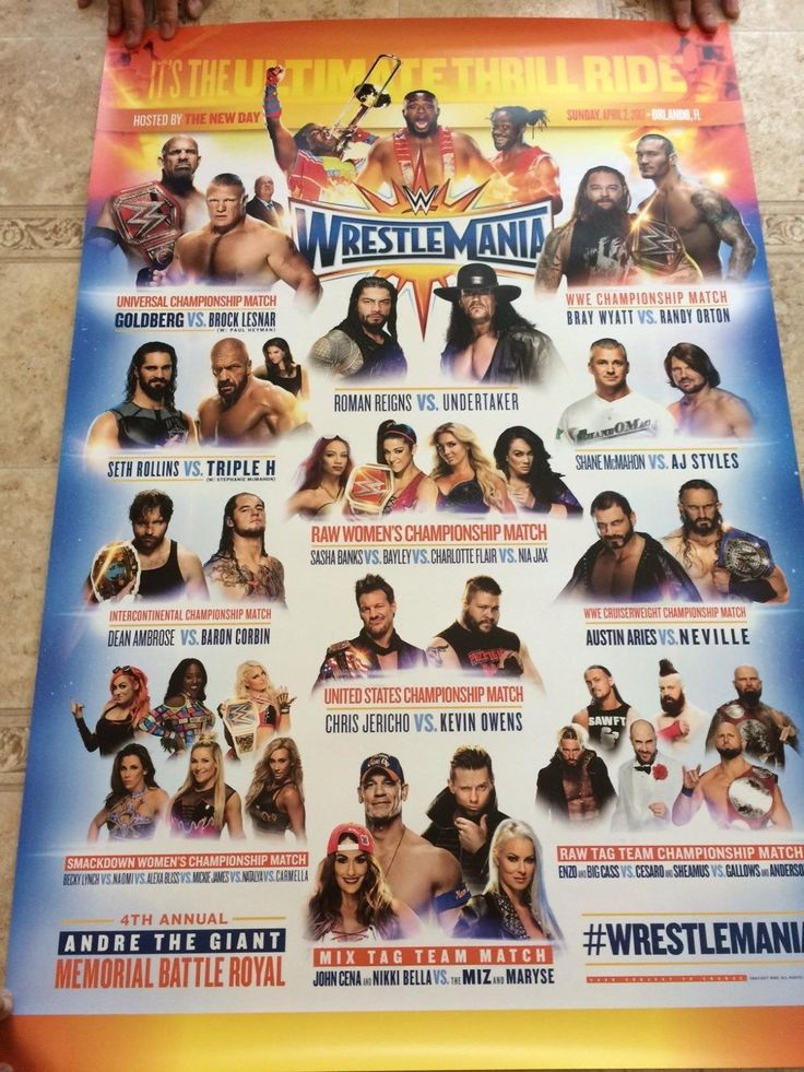 Wrestling 2902: Wrestlemania 33 Match Card Fight Poster Wwe Official 24X36 Poster Brand New -> BUY IT NOW ONLY: $74.99 on eBay!