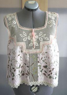 Camisole Tank Hand Embroidery Linen Vintage Crochet Yoke Flower Garden