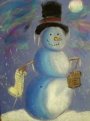 a faithful attempt: Snowmen at Night Chalk Pastel Drawings
