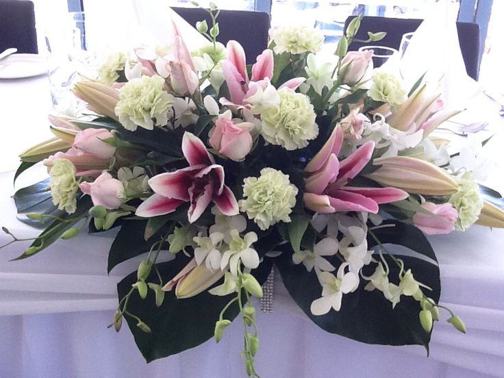 Pink and white bridal table floral arrangement by www.newminsterfunctiondesign.com