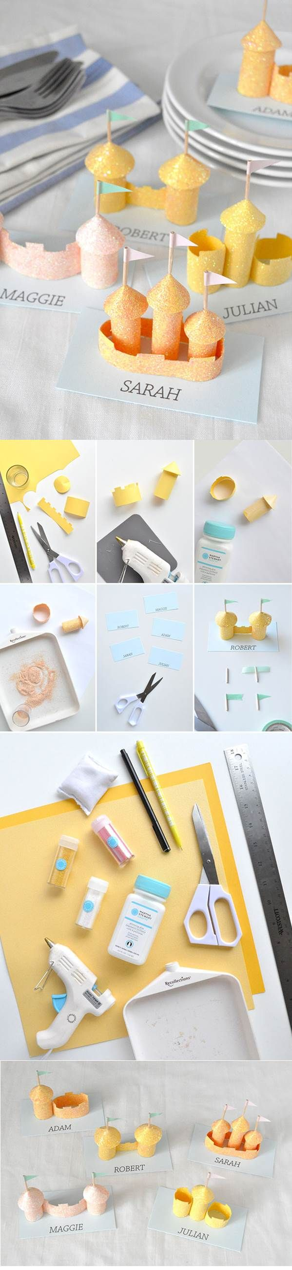 DIY these gorgeous beach-inspired place cards with #marthastewartcrafts glitter!Beach Inspiration Places, Marthastewartcrafts Glitter, Diy Beach Inspiration, Castles Places, Cards Diy, Places Cards, Gorgeous Beach Inspiration, Cards Marthastewartcrafts, With Your