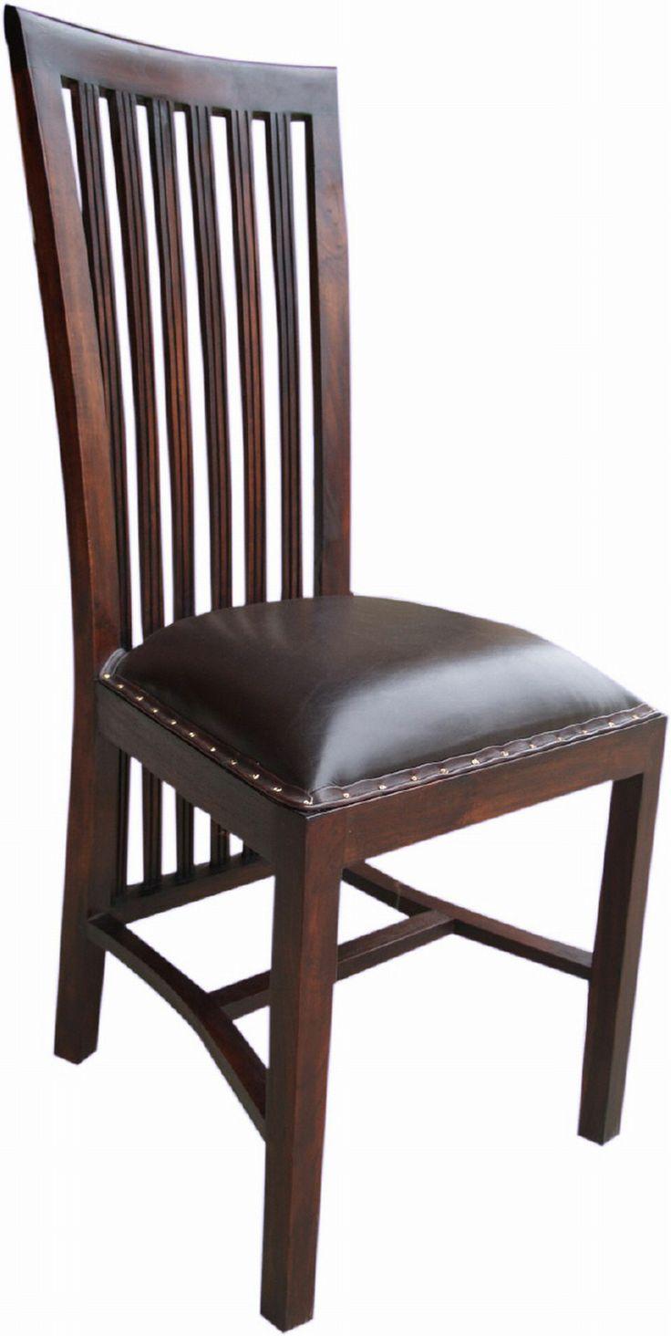 schlank und elegant ist dieser esszimmerstuhl aus teakholz und leder im modernistischen. Black Bedroom Furniture Sets. Home Design Ideas
