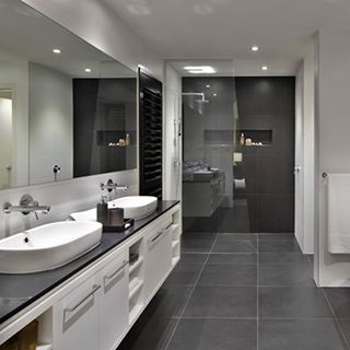 #RawsonHomes spacious bathroom design features double basins, ideal for families of in a couples ensuite #InspiringBathrooms http://www.rawsonhomes.net.au/