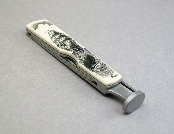 Folding Scrimshaw on Bone Pipe Tamper set with by lindalayden, $49.00