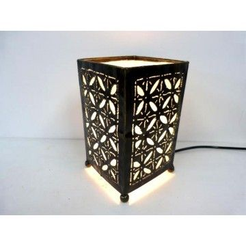Moroccan metal Lamp with Inner fabric Rectangular 20h