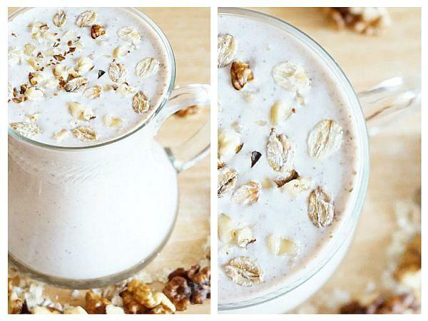 Această băutură din iaurt, nuci și ovăz este foarte hrănitoare. Conține multe proteine și fibre, ingredientele-cheie pentru menținerea greutății și sațietății.