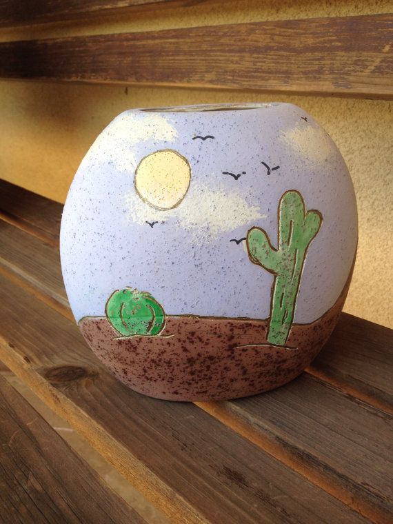 Cactus Vase Southwestern Vase Cacti Succulent by WeFindVintage