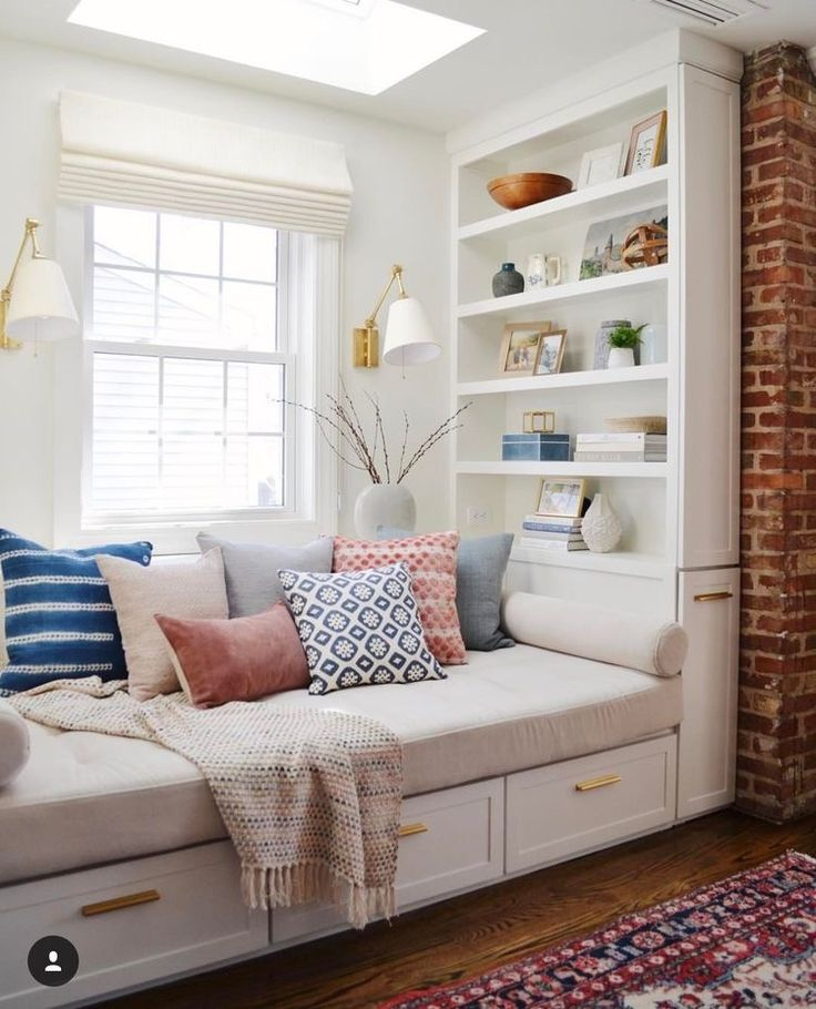 Bench seats and bookshelves