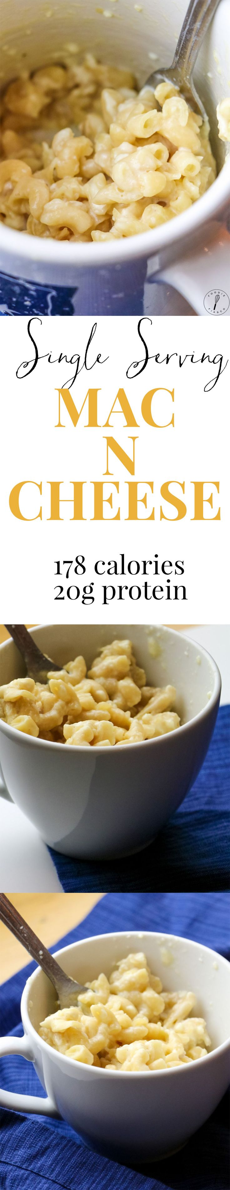 You NEED this single serving mac n cheese in your life. Just as easy and a lot tastier than the boxed stuff, plus it's so much healthier!! Only 178 calories and ready in the microwave in only 10 minutes.
