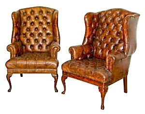 Pair Of English Leather Wing Back Chairs.