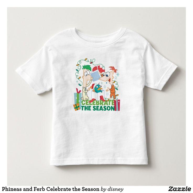 Phineas and Ferb Celebrate the Season. Producto disponible en tienda Zazzle. Vestuario, moda. Product available in Zazzle store. Fashion wardrobe. Regalos, Gifts. #camiseta #tshirt