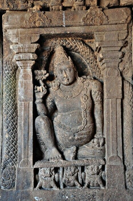 """Lord Kuber with Lotus."" Virupaksha Temple. Pattadakal. Chalukya Dynasty. 8th Century CE. Karnataka, India."
