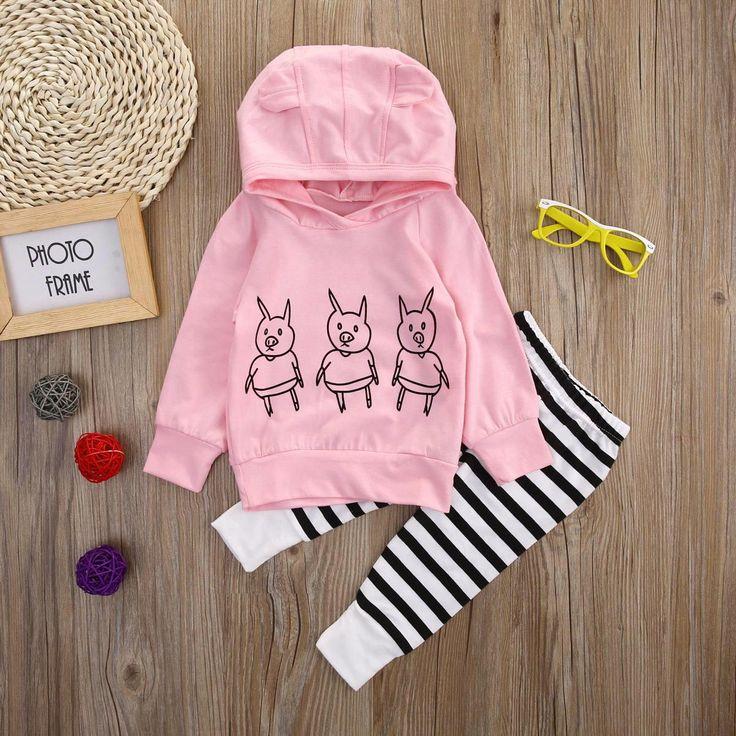 Pigs Baby Girls Kids Sweatshirt Tops + Striped Pants 2pcs Outfits Set