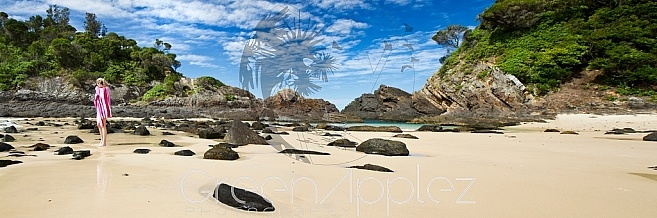 The  Beach and the Girl Seal Rocks NSW - F176 Landscape